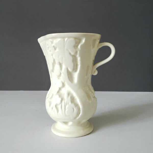 Antique Matte Cream Coloured Beswick Pottery Pitcher With Leaves & Flowers Design