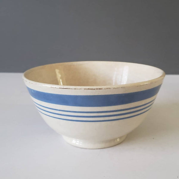Antique English Blue & White Banded Bowl