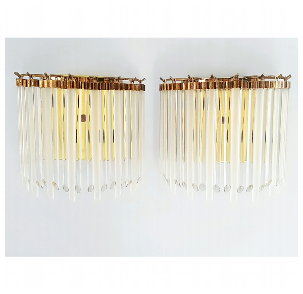 Gilt Wall Sconces with Clear & Frosted Glass Rods