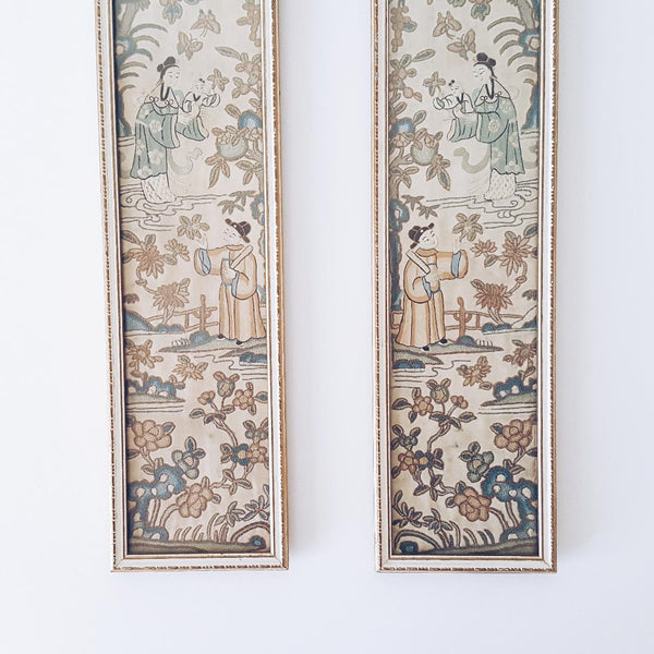 Exquisite Antique Chinese Framed Pair of Qing Dynasty Forbidden Stitch Sleeve Panels