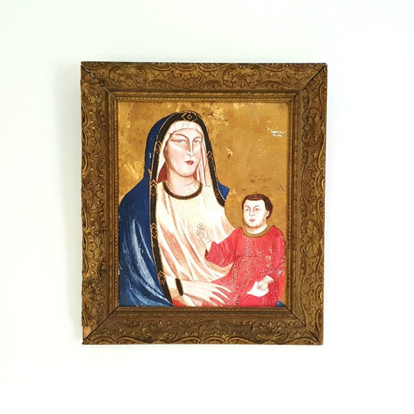 Antique Folk Art Painted Icon with Gold Leaf