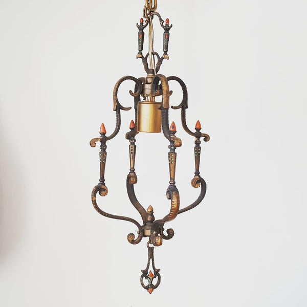 Pagoda Style Antique Hanging Brass Ceiling Lamp