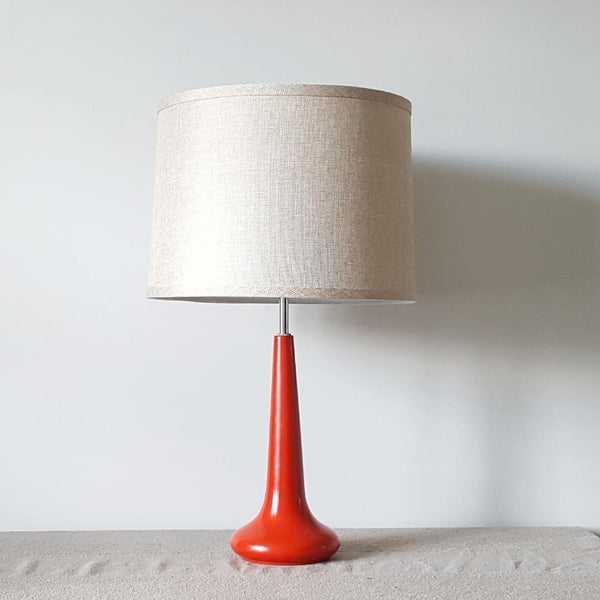stunning circa 1960's red genie bottle style metal table lamp