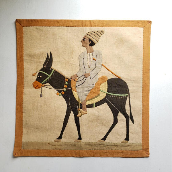 Antique Egyptian Cotton Applique Donkey Wall Tapestry Hanging
