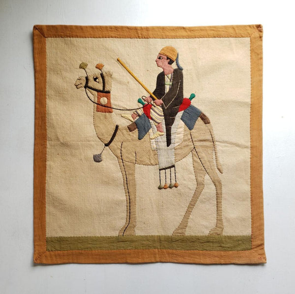 Antique Egyptian Cotton Applique Camel Wall Tapestry Hanging