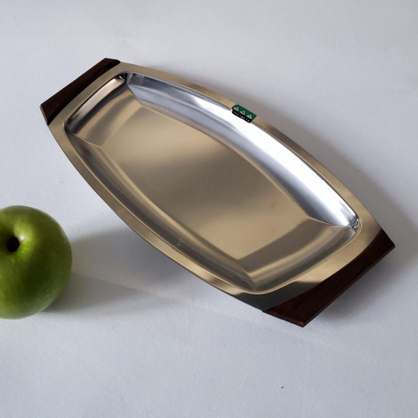 Chrome & Rosewood Serving Tray