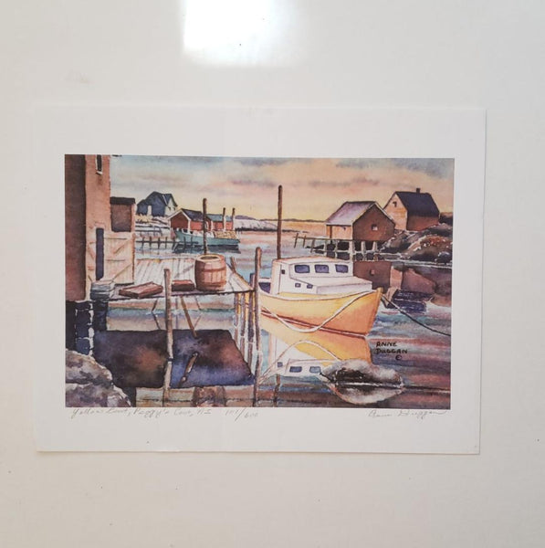 Peggy's Cove Vintage Pencil Signed Numbered Print Anne Duggan