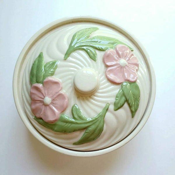 Ceramic Pottery Casserole Dish Flowers
