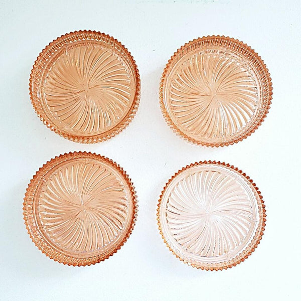 Pink Depression Glass Coasters With Pinwheel Pattern & Ribbed Rim