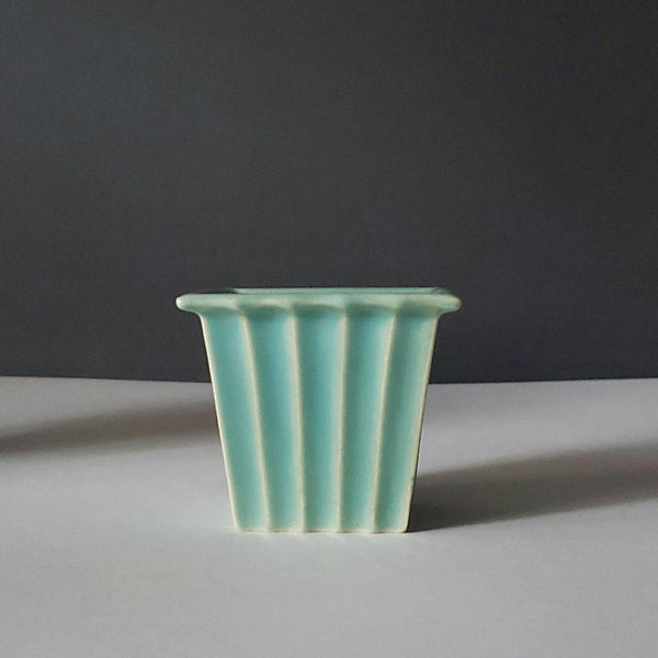 Wonderful Petite Green Blue Ribbed Flower Plant Pot