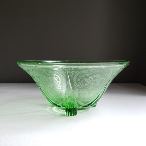 Green Art Deco Engraved Depression Glass Footed Bowl