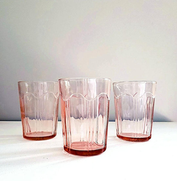 "Anchor Hocking Pink Depression Glass Tumblers ""Colonial Knife & Fork"" Pattern"