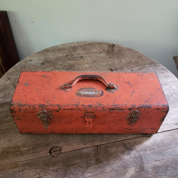 Vintage Orange Rustic Tool Box