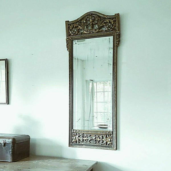 Antique Neoclassical Large Rectangular Gilt Finish Carved Wood Gesso Mirror