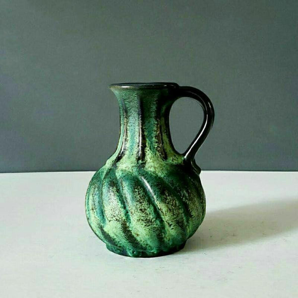 Carstens Tonnieshef West Germany Green Pottery Pitcher