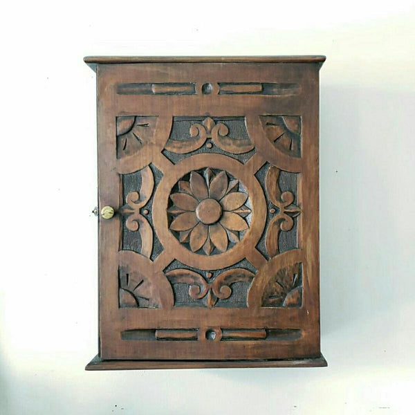 Antique Quebec Carved Wood Wall Box
