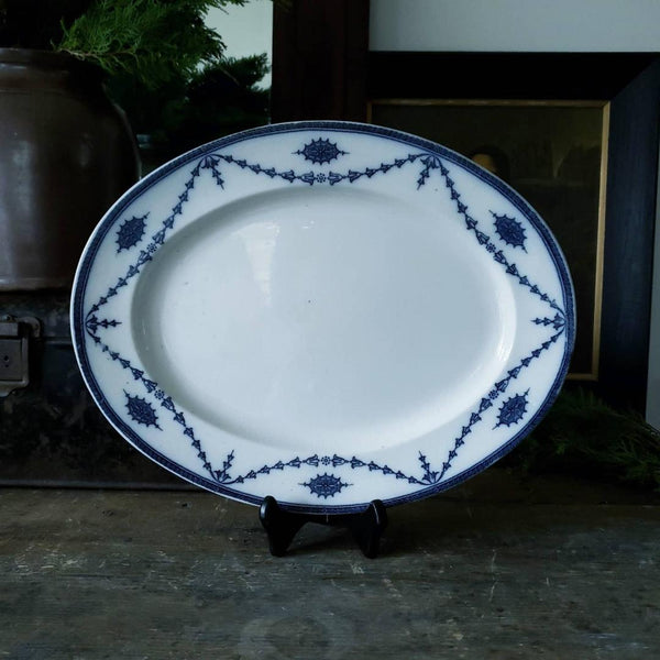 "Blue & White Booths England ""Chippendale Pattern"" Oval Serving Plate"