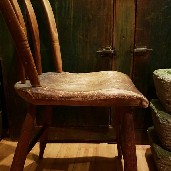 Antique Thumb Tack Arrowback Windsor Chair In Original Untouched Patina