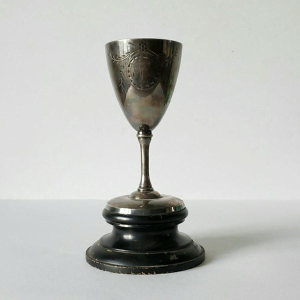 "Antique Silver Trophy On A Wood Base  ""E.W.Good"" 1918"