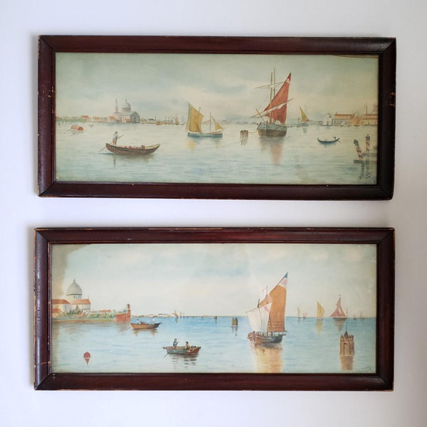 Pair Of Fabulous Antique Venice Framed Watercolours