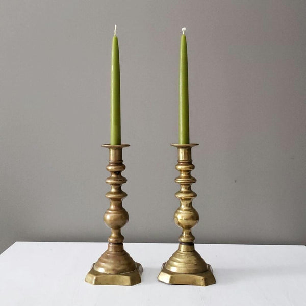 Pair of Antique Antique Brass Candle Candlesticks
