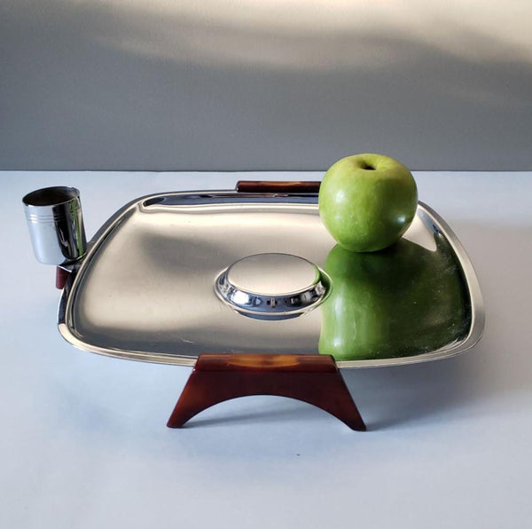Vintage Glo-Hill Chrome and Bakelite Serving Tray with Toothpick Holder