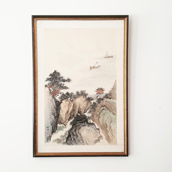 Framed & Signed Antique Chinese Classical Landscape Painting on Silk