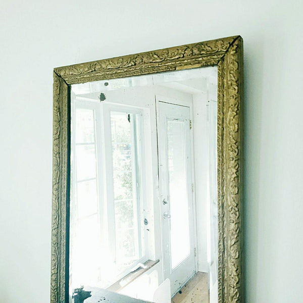 Antique Gilt Bevelled Glass Mirror With Wonderful Patina