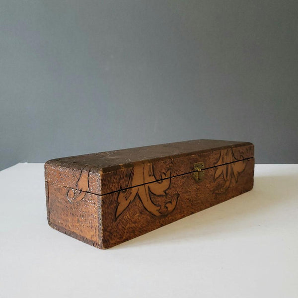 Antique Pyrography Glove Box