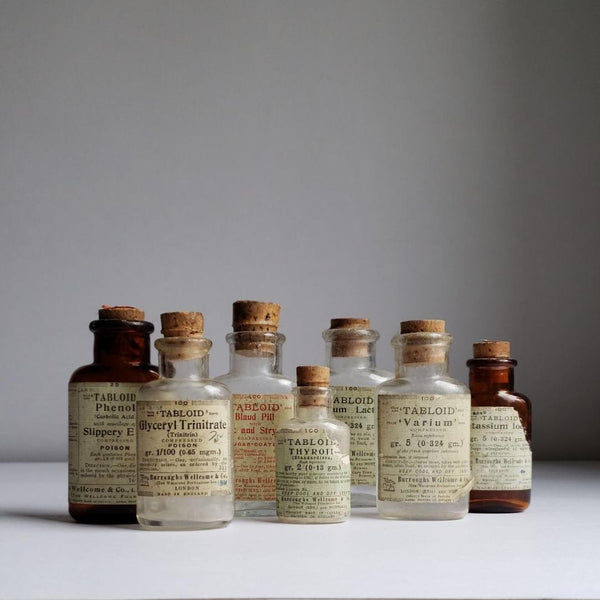 Collection of 14 Antique Burroughs Medicine & Tablet Bottled + Others