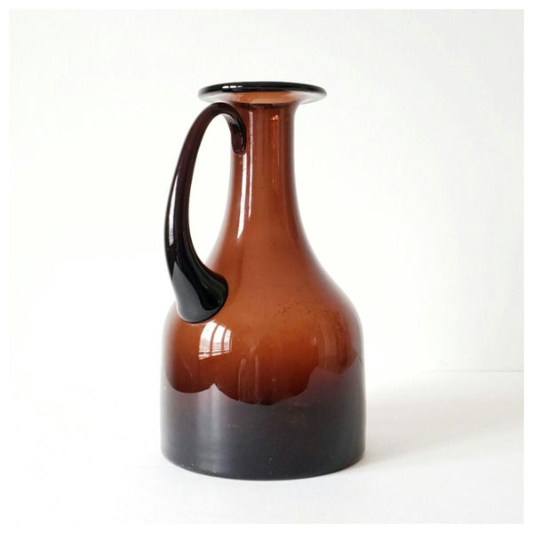 Mid-Century Brown Glass Decanter Caraffe Pitcher