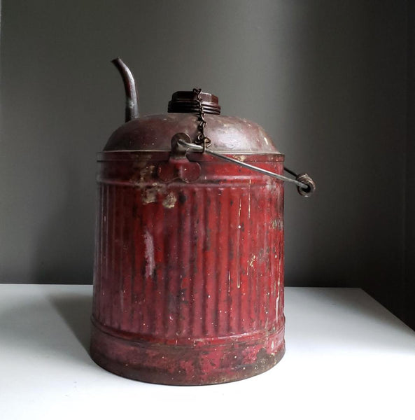 Antique Industrial Design Utilitarian Red Metal Gas Can