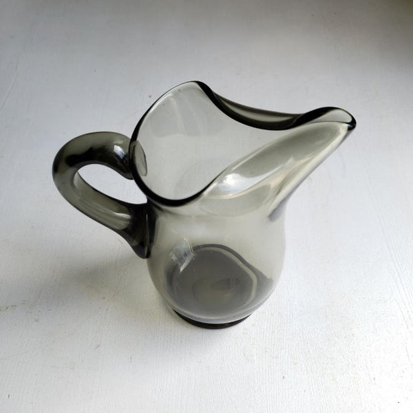 Charcoal Smoked Grey Art Glass Pitcher or Vase