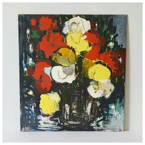 Abstract Oil on Board Flowers Floral