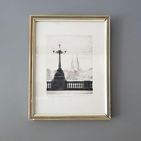 Framed Architectural Cityscape Etching Hamburg Germany Friedrich Gocht (1890-1973)