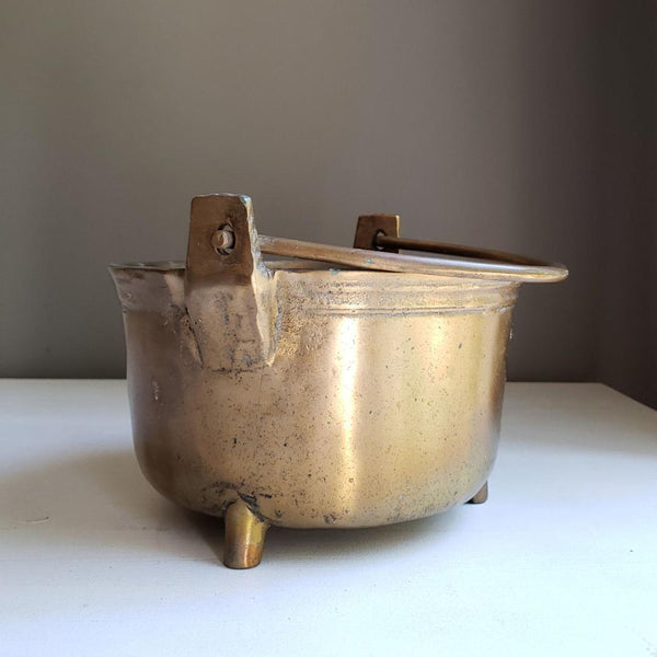 Antique Brass Kettle Planter Cache Pot Jardniere