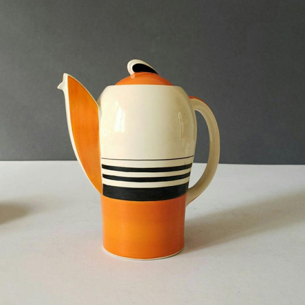 "Susie Copper ""Kestrel"" Coffee Set In Orange, Black & Cream Stripe Design"