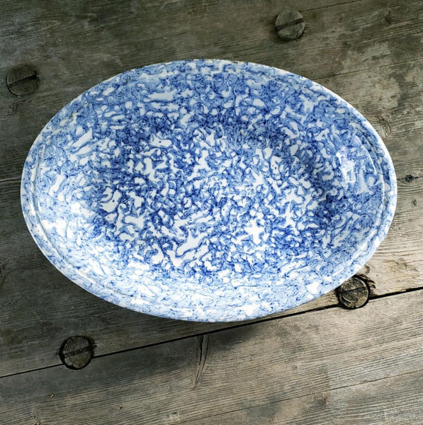 Blue & White Oval Splatter Ware Dish Or Shallow Bowl