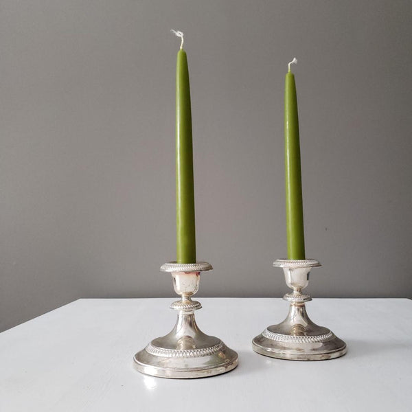 Silver Candlestick Pair With Pink Undertones