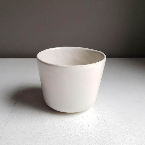 Vintage White Pottery Plant Pot Cereal Bowl Mixing Bowl