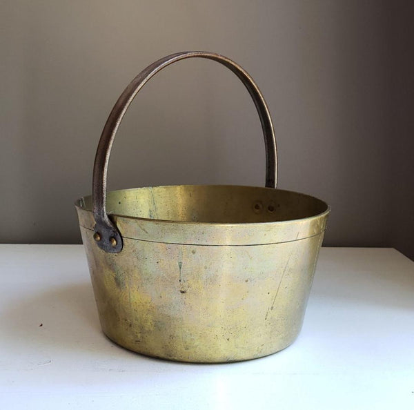 Antique Brass Cache Pot Jardniere Kettle Pot