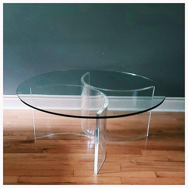 Modernist Glass & Lucite Round Coffee Cocktail Table