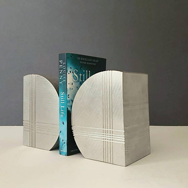 Art Deco Stylized Graphic Geometric Heavy Solid Aluminum Bookends