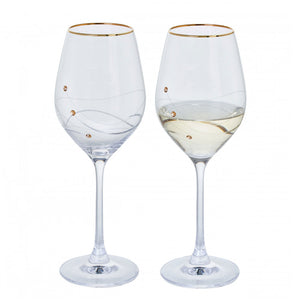Gold Rimmed Timeless Collection Swarovski Glasses, Pair