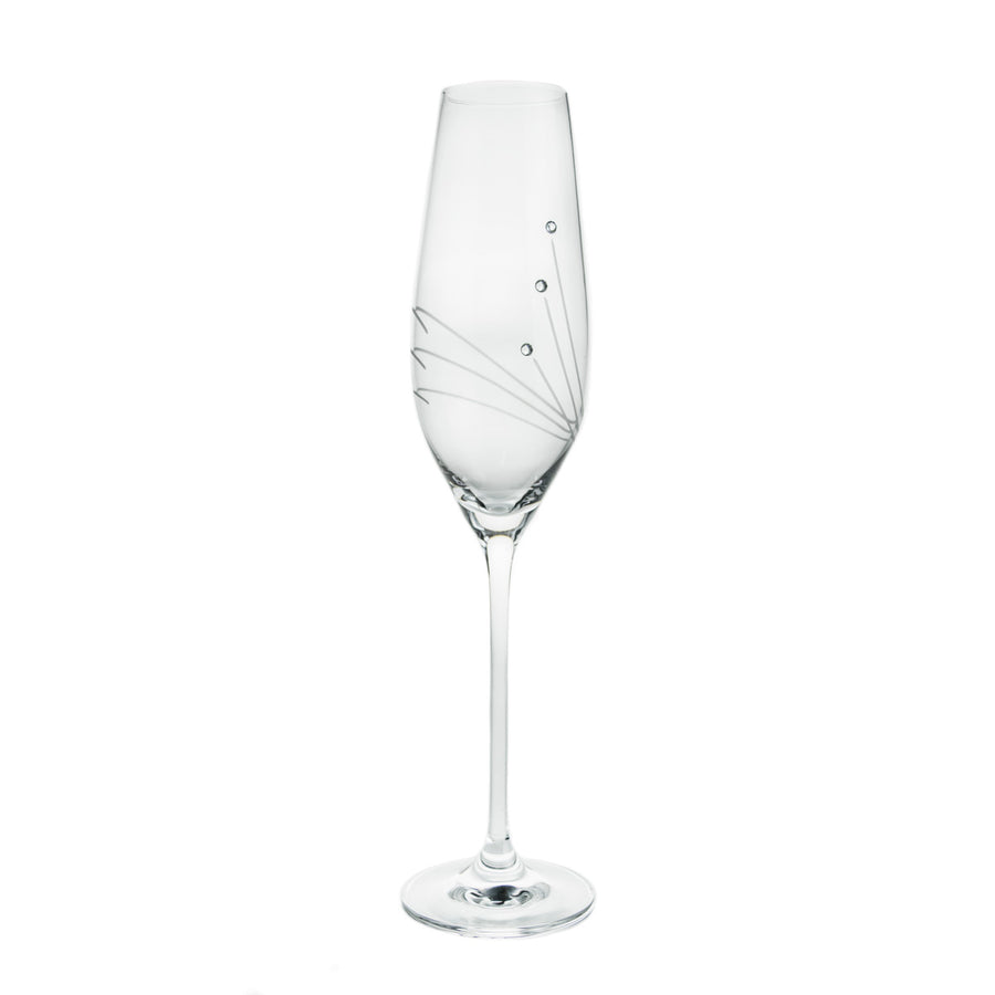 Champagne Glasses with Three Swarovski Crystals, Set of 6