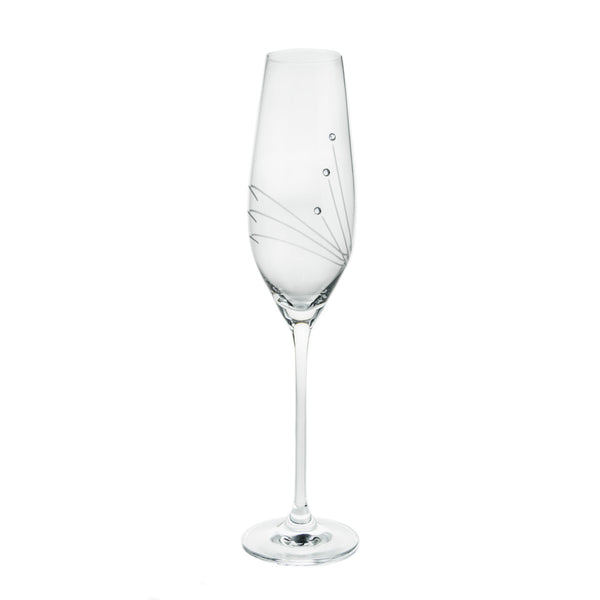 Champagne Glasses with Three Swarovski Crystals, Pair