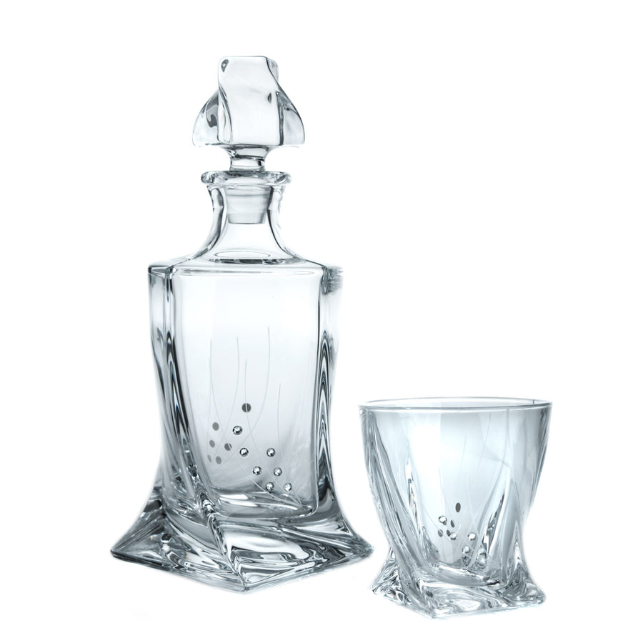 Calypso Whiskey Decanter with Six Tumblers, Hand-decorated with Swarovski Crystals - The Crystal Wonderland