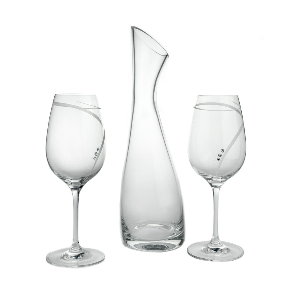 Wine Decanter & 2 Wine Glasses Set with Swarovski Crystals, No Lead - The Crystal Wonderland 2