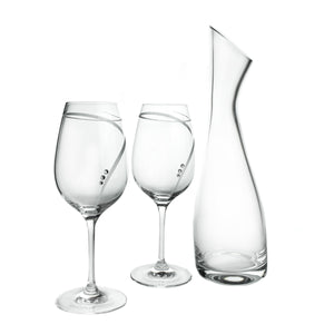Wine Decanter & 2 Wine Glasses Set with Swarovski Crystals, No Lead - The Crystal Wonderland