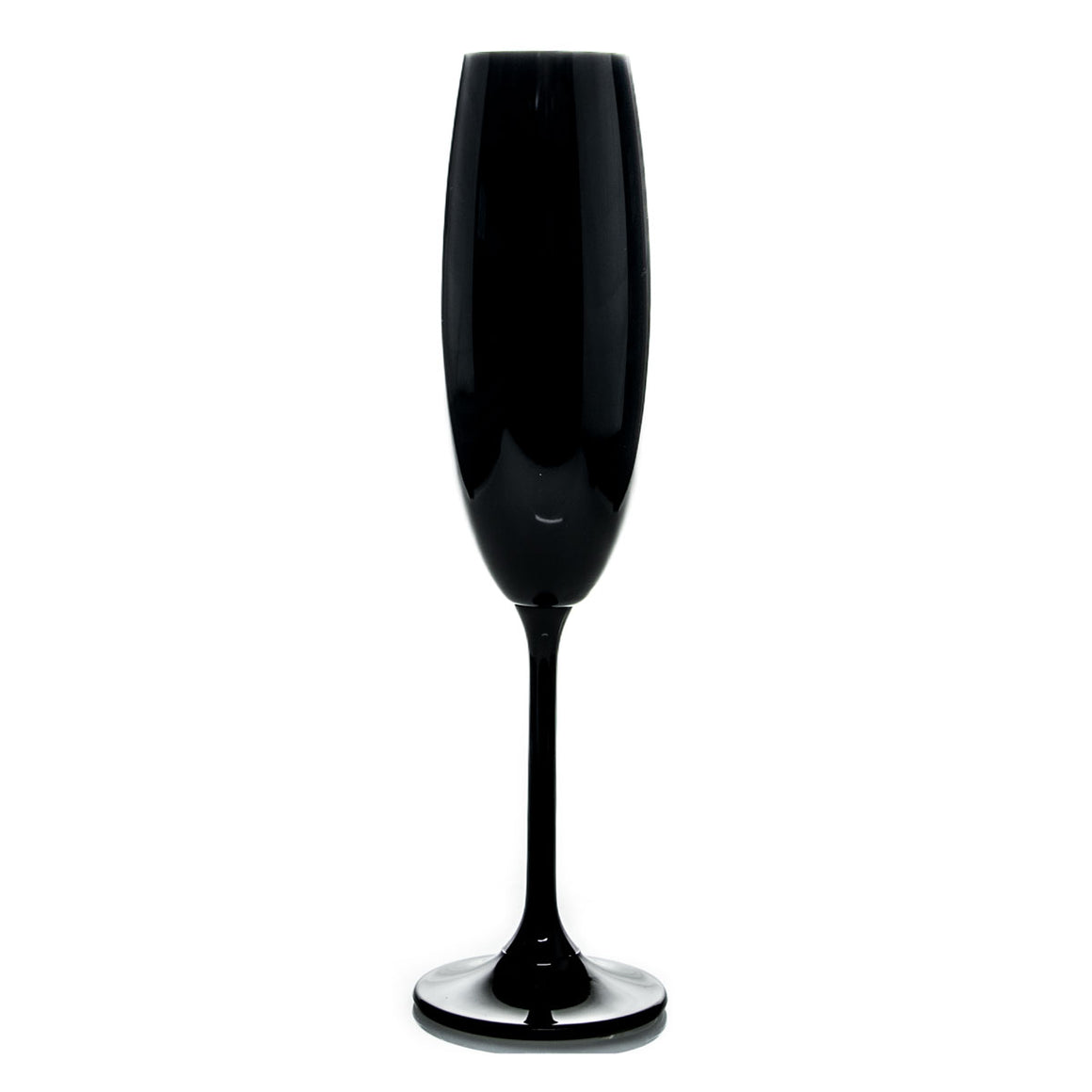 Black Colored Bohemian Glass Champagne Flutes - The Crystal Wonderland